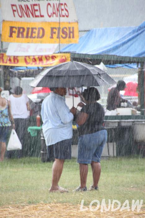 Conversation continues despite of the rain