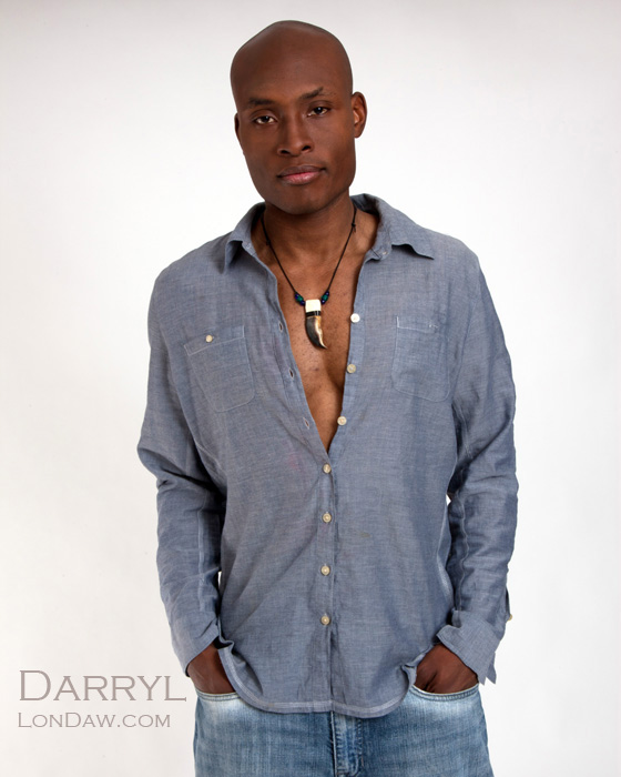 Model Darryl Miles in blue shirt and jeans