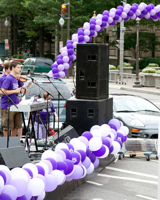 Balloons form as S shape at Purple Stride 5k Walk