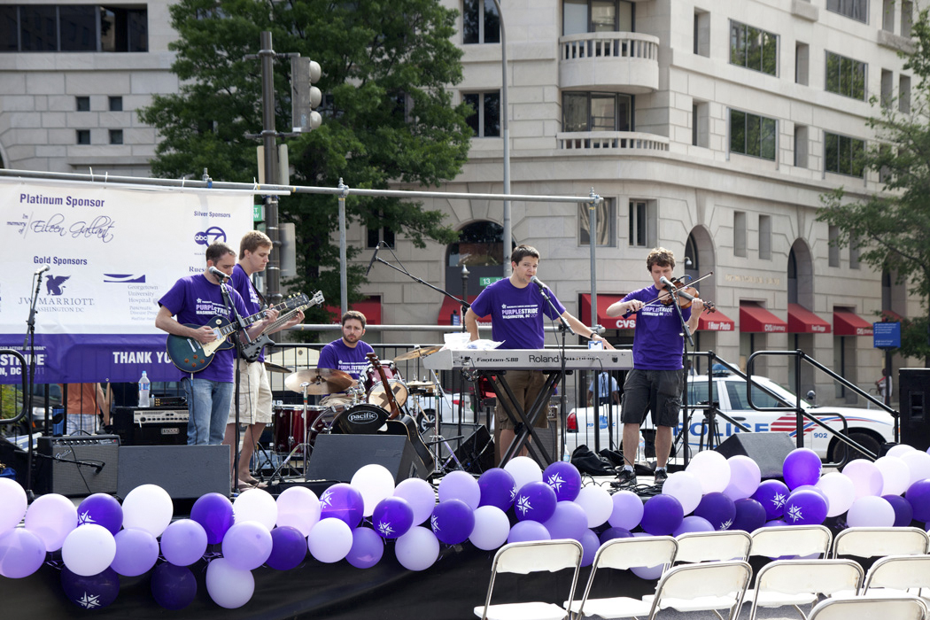 Band playing for Purple Stride Walk Washington DC 2011.  A wode variety of selctions.