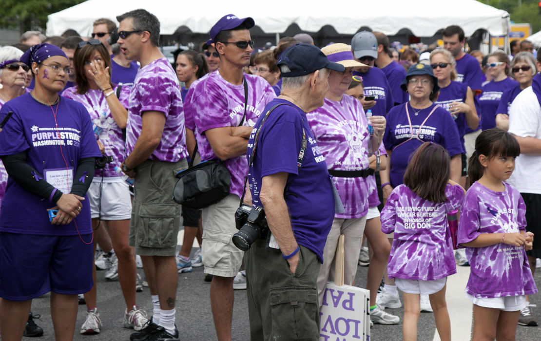Purple fashion with variations were seen everywhere