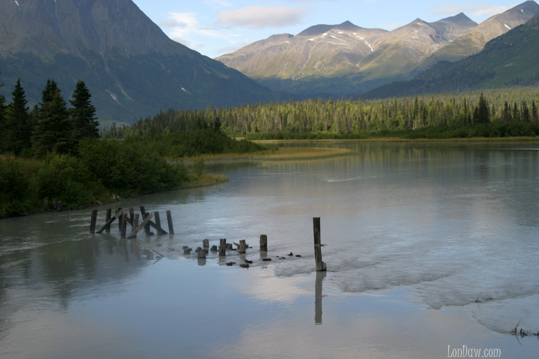 Lake view of sun going down in Alaska