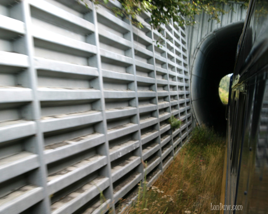 Alaskan Railroad train passes through tunnel