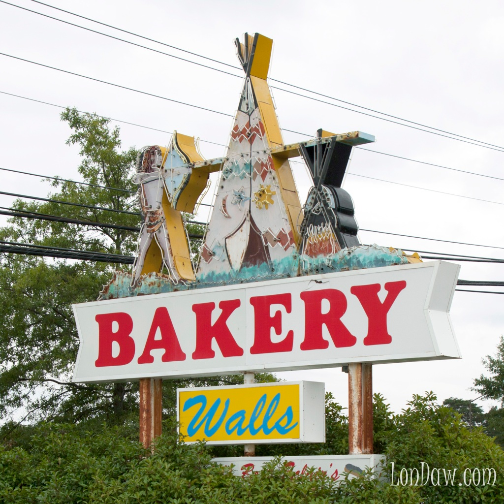 Wall's Bakery sign which was formerly located in the Wigwam.