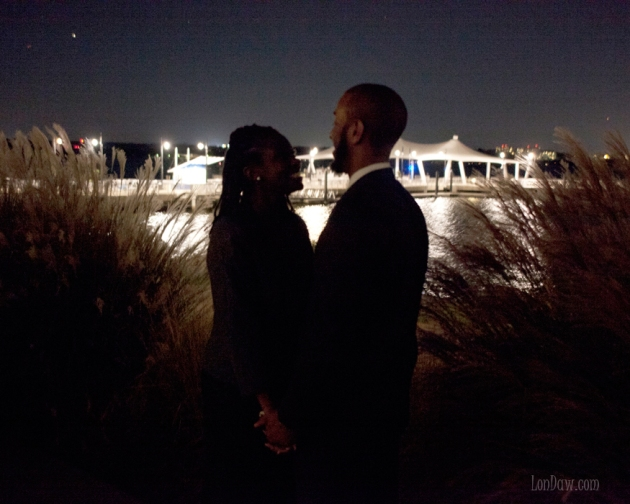Sillouette of engaged couple at night