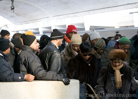 Early morning crowd packed the metro station enroute to Obama inauguration