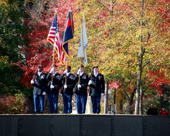 Colors being presented at Vietnam Veteran Memorial