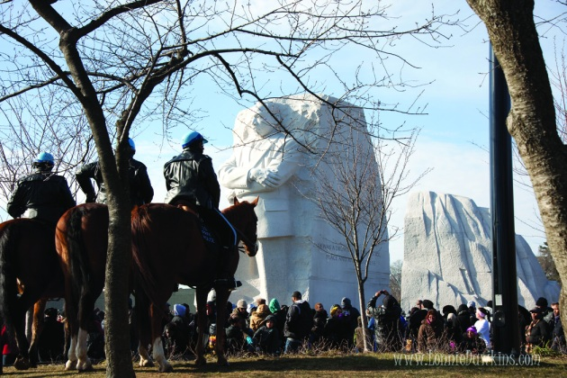 National Park Police on horses patrol Martin Luther King Memorial