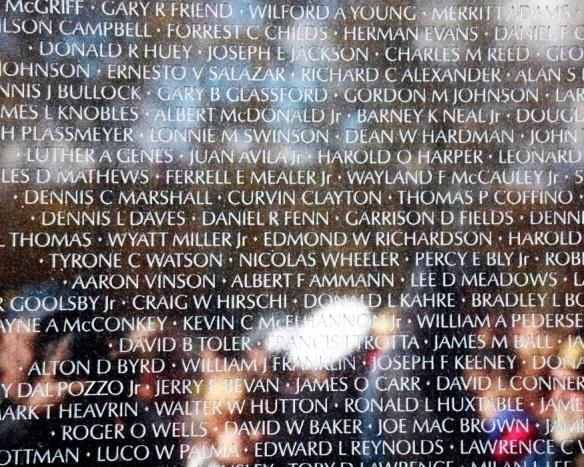 Vietnam Veteran Memorial Wall with names of deceased heros