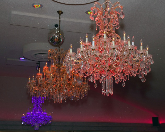 3 chandeliers in ballroom at the Appian Way