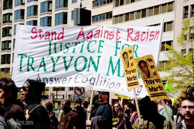 Justice for Trayvon sign in march in DC