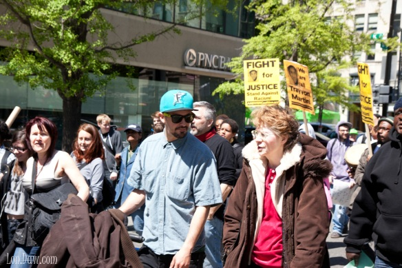Diverse group of people marched in protest for Trayvon Martin