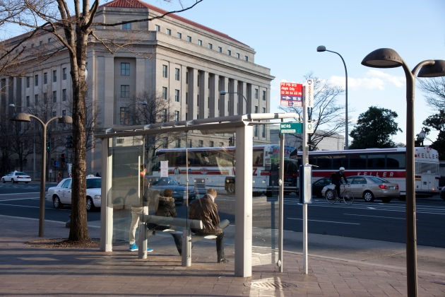 Bus stop in Washington near government buildings