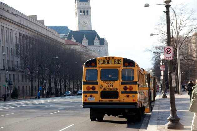 school buses parked on Penn Ave Washington dc