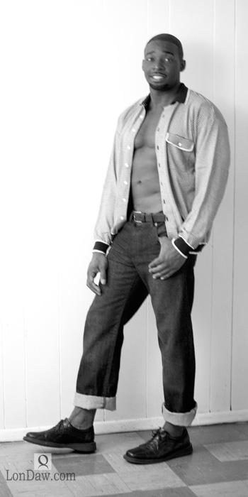 Black male model profile jeans and vintage shirt