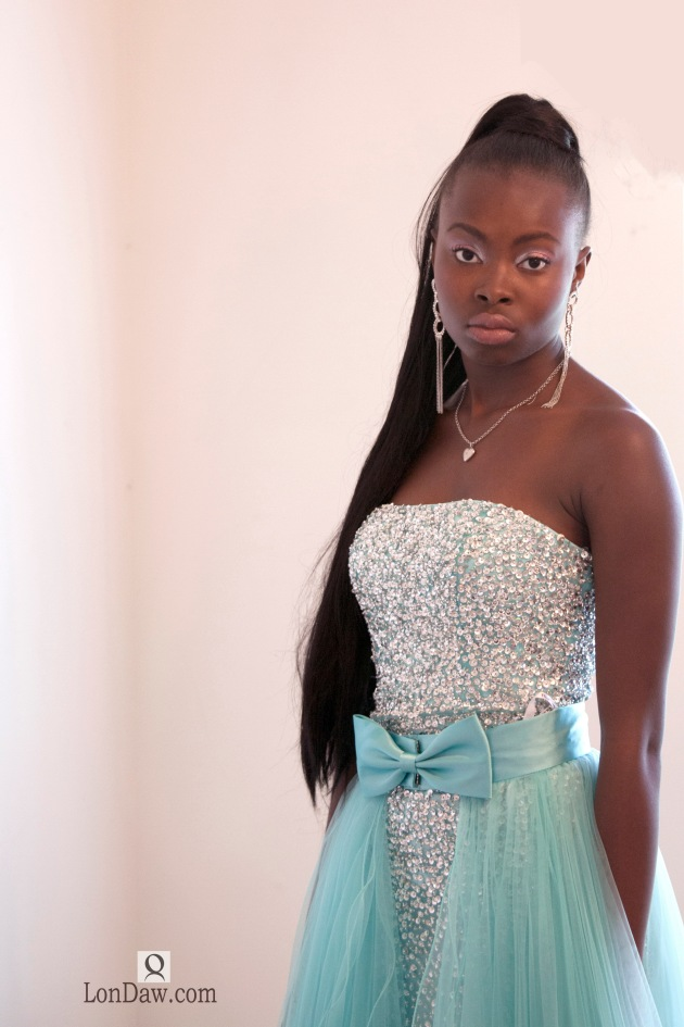 beautiful female model in evening gown