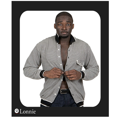 muscular black male putting on sweater