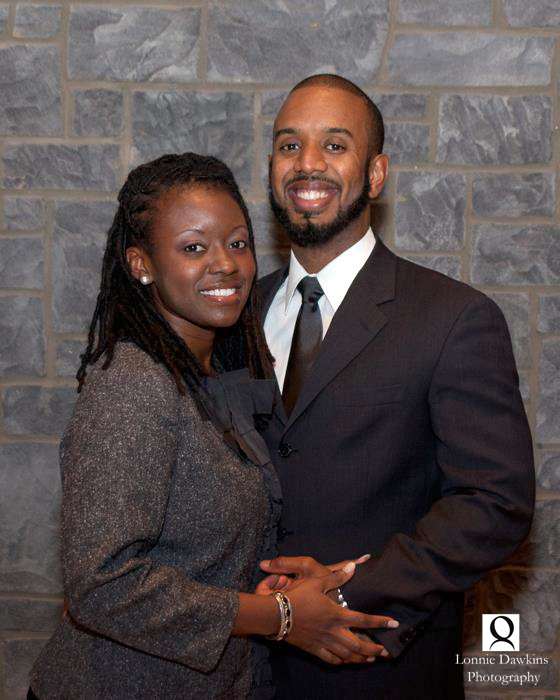 Engaged couple successful African American