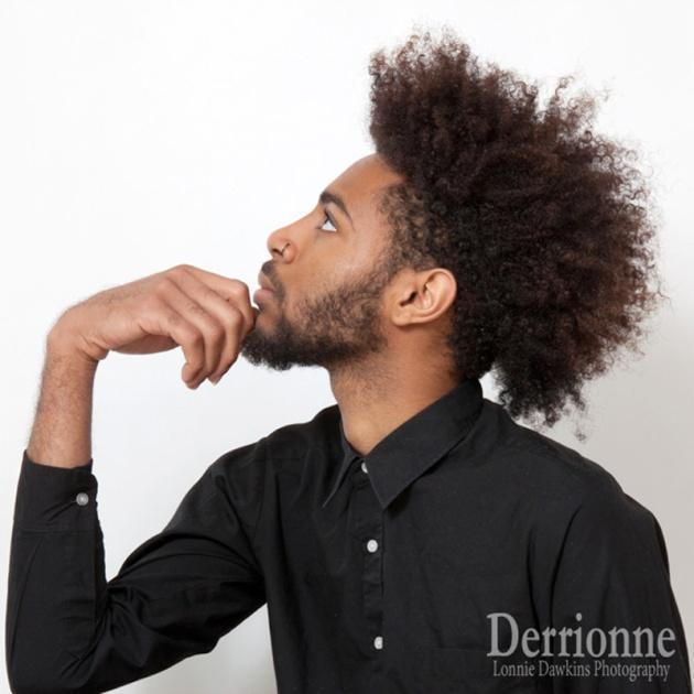 Male model afro and beard black