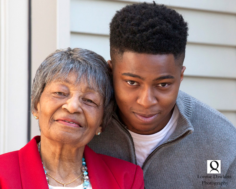 90 year old grandmother and grandson at 90th Birthday celebration in Maryland - Washington DC