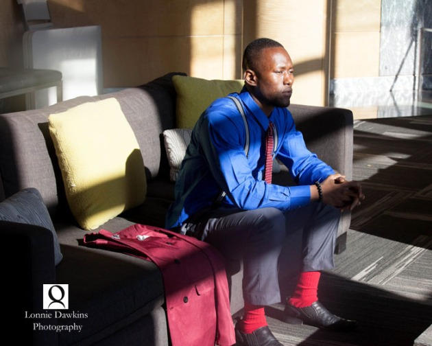 black male model red jacket and socks