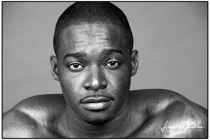 muscular nude black tattooed male model